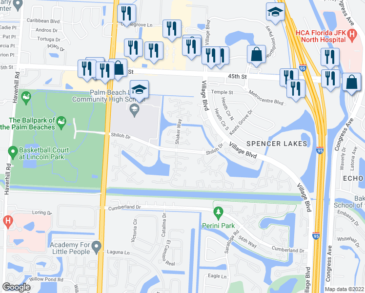 map of restaurants, bars, coffee shops, grocery stores, and more near 3321 33rd Way in West Palm Beach