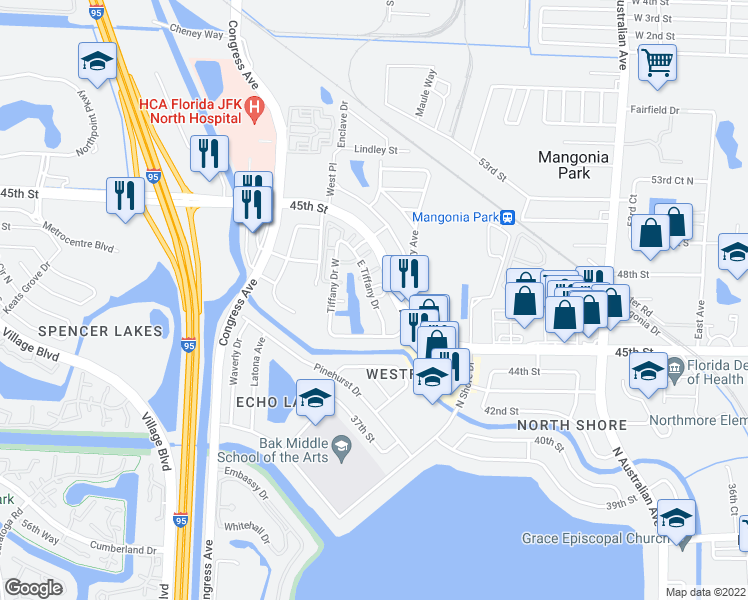map of restaurants, bars, coffee shops, grocery stores, and more near 834 Tiffany Drive East in West Palm Beach