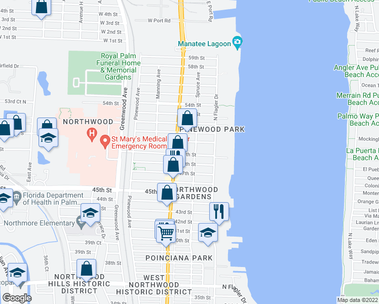 map of restaurants, bars, coffee shops, grocery stores, and more near 518 49th Street in West Palm Beach