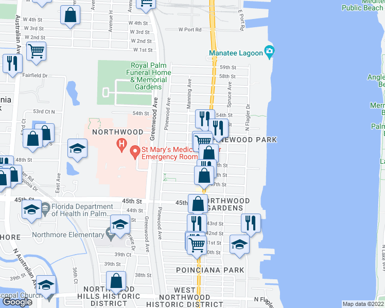 map of restaurants, bars, coffee shops, grocery stores, and more near 628 50th Street in West Palm Beach