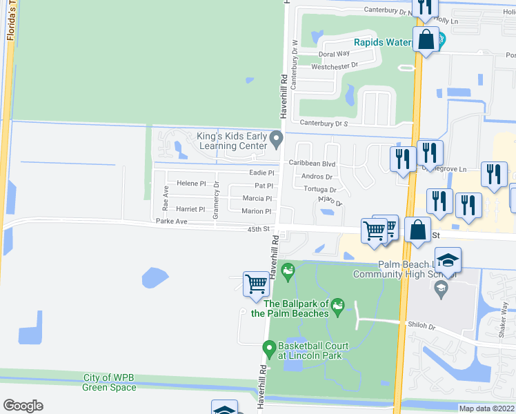 map of restaurants, bars, coffee shops, grocery stores, and more near 5077 Marion Place in West Palm Beach