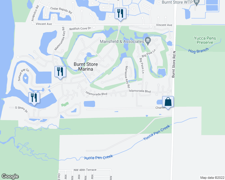 map of restaurants, bars, coffee shops, grocery stores, and more near 1107 Islamorada Boulevard in Punta Gorda