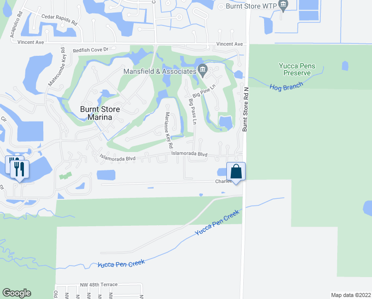 map of restaurants, bars, coffee shops, grocery stores, and more near 509 Islamorada Boulevard in Punta Gorda