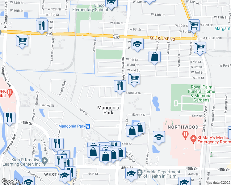 map of restaurants, bars, coffee shops, grocery stores, and more near 5707 Briarwood Avenue in West Palm Beach