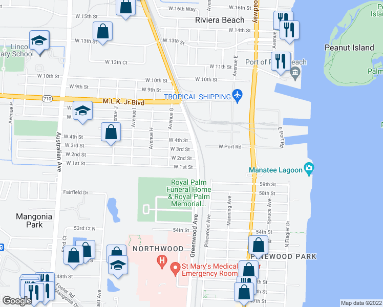map of restaurants, bars, coffee shops, grocery stores, and more near 223 President Barack Obama Highway in Riviera Beach