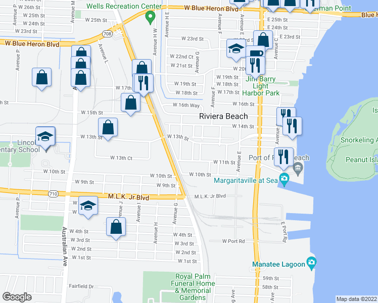 map of restaurants, bars, coffee shops, grocery stores, and more near 1131 Avenue G in West Palm Beach