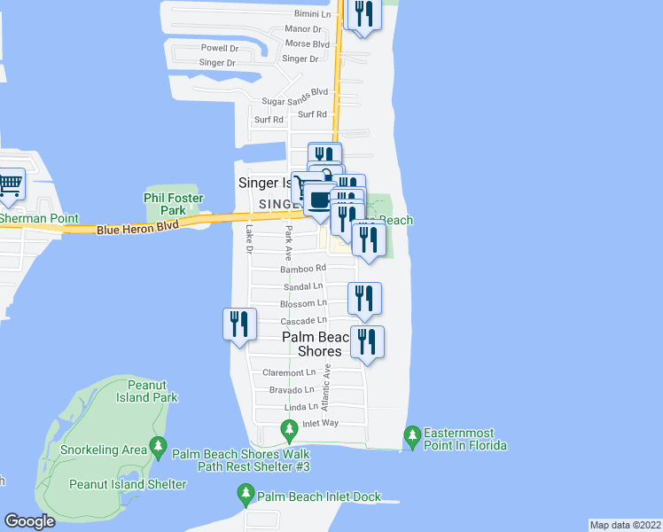 map of restaurants, bars, coffee shops, grocery stores, and more near 135 Bamboo Road in Palm Beach Shores