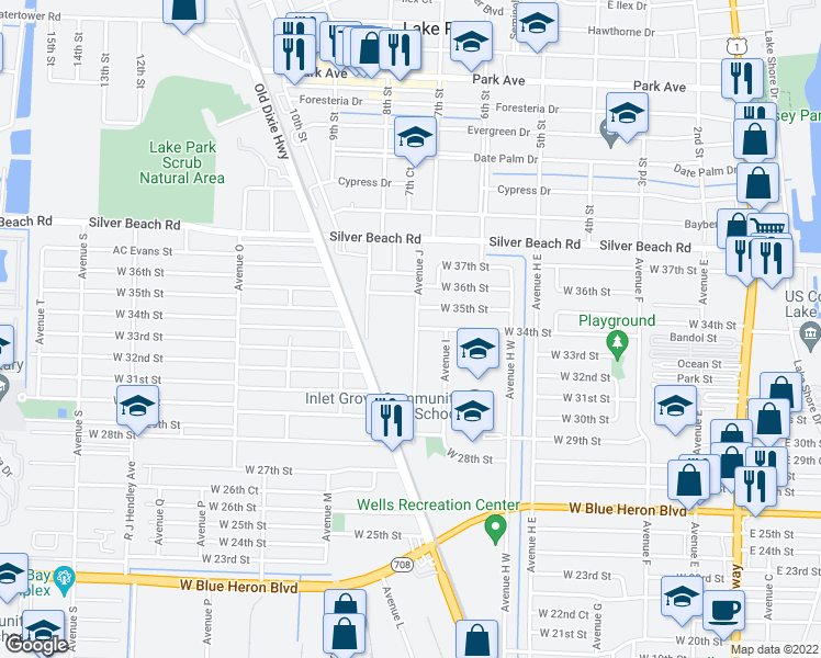 map of restaurants, bars, coffee shops, grocery stores, and more near 3305 Avenue J in West Palm Beach
