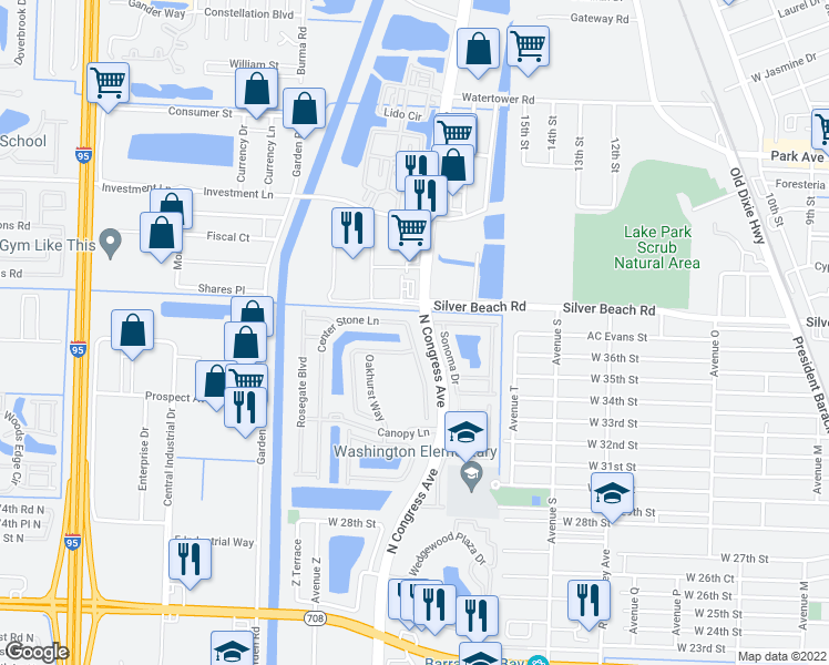 map of restaurants, bars, coffee shops, grocery stores, and more near 2301 Centre Stone Lane in Riviera Beach