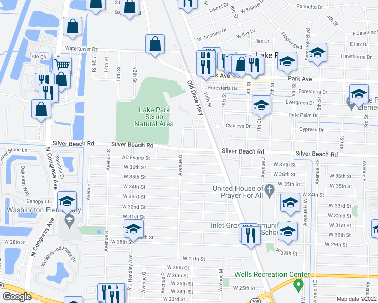 map of restaurants, bars, coffee shops, grocery stores, and more near 1265 Silver Beach Road in Riviera Beach