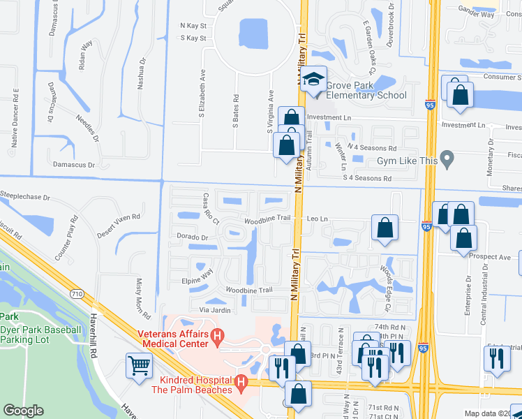 map of restaurants, bars, coffee shops, grocery stores, and more near 1009 Aspri Way in Palm Beach Gardens