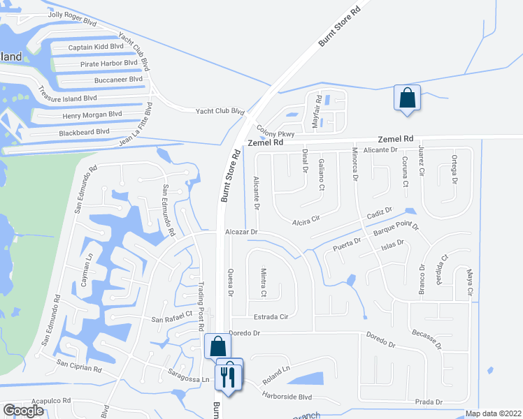 map of restaurants, bars, coffee shops, grocery stores, and more near 16140 Badalona Drive in Punta Gorda
