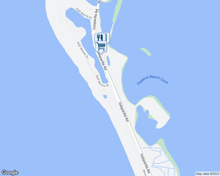 map of restaurants, bars, coffee shops, grocery stores, and more near 5000 Gasparilla Road in Boca Grande