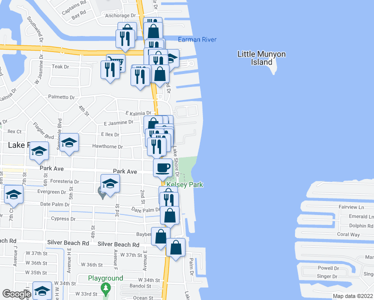 map of restaurants, bars, coffee shops, grocery stores, and more near 801 Lake Shore Drive in West Palm Beach