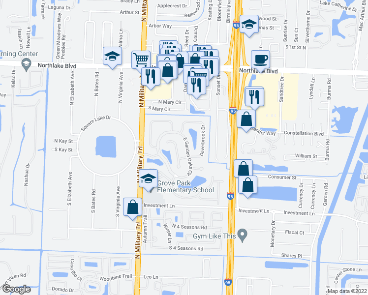 map of restaurants, bars, coffee shops, grocery stores, and more near 8499 East Garden Oaks Circle in Palm Beach Gardens
