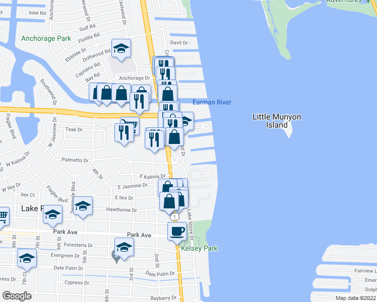 map of restaurants, bars, coffee shops, grocery stores, and more near 132 Wettaw Lane in North Palm Beach