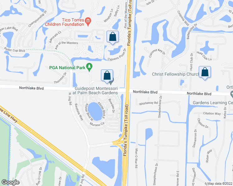 map of restaurants, bars, coffee shops, grocery stores, and more near 6078-6202 Northlake Boulevard in Palm Beach Gardens