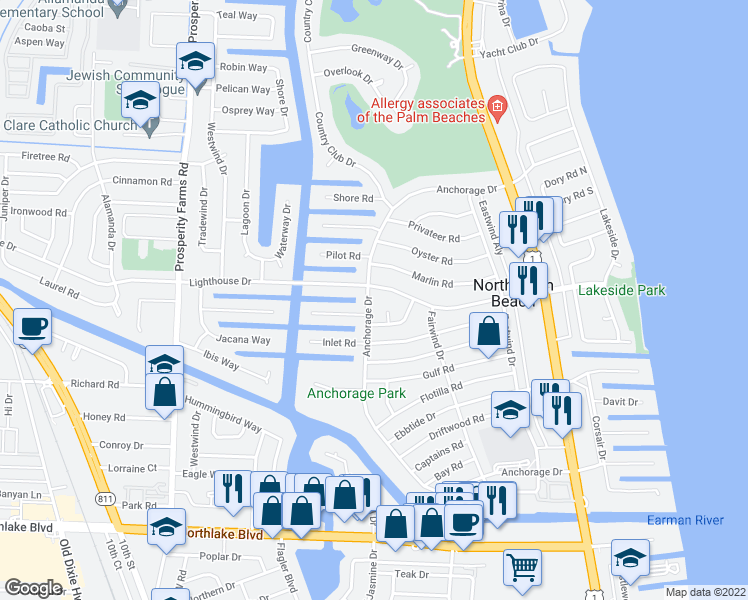 map of restaurants, bars, coffee shops, grocery stores, and more near 670 Anchorage Drive in North Palm Beach