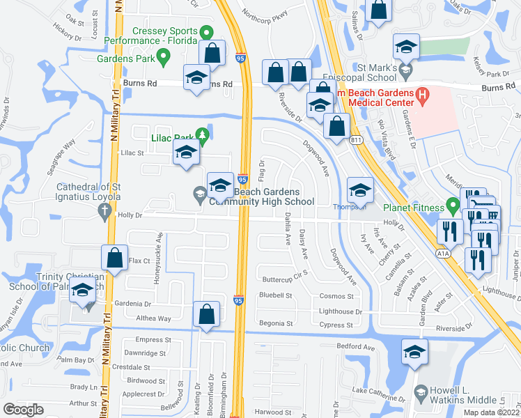 map of restaurants, bars, coffee shops, grocery stores, and more near 3937 Holly Dr in Palm Beach Gardens