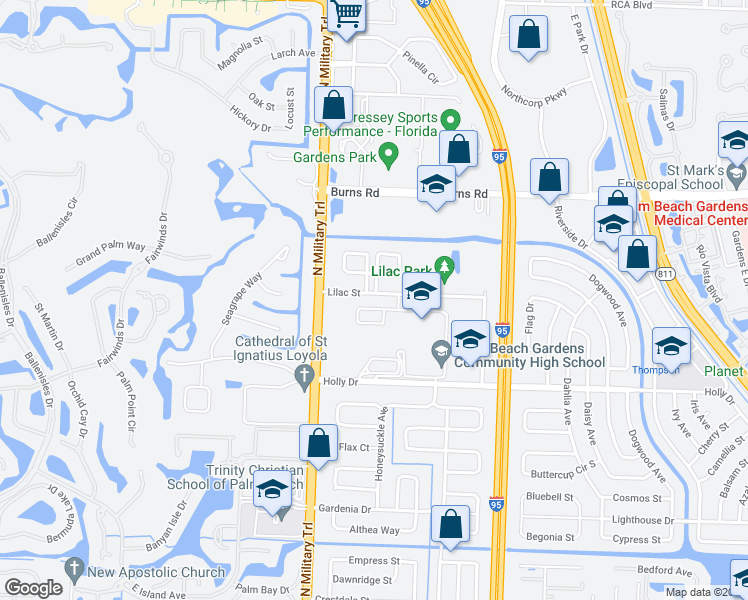 map of restaurants, bars, coffee shops, grocery stores, and more near 4350 Lilac Street in Palm Beach Gardens