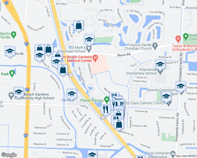 map of restaurants, bars, coffee shops, grocery stores, and more near 3330 Meridian Way South in Palm Beach Gardens