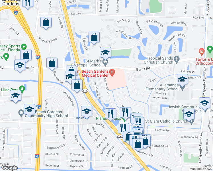 map of restaurants, bars, coffee shops, grocery stores, and more near 10000 Gardens East Drive in Palm Beach Gardens