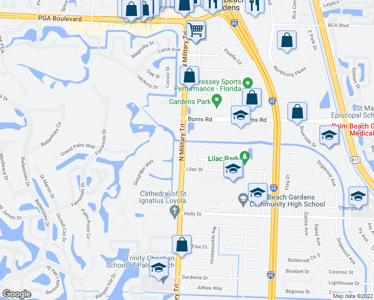 map of restaurants, bars, coffee shops, grocery stores, and more near 10330 North Military Trail in West Palm Beach