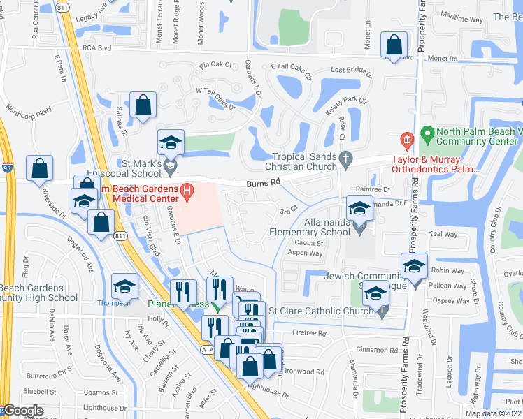map of restaurants, bars, coffee shops, grocery stores, and more near 412 4th Court in Palm Beach Gardens