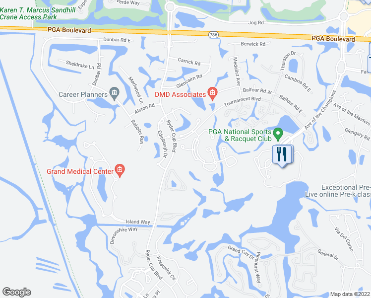 map of restaurants, bars, coffee shops, grocery stores, and more near Brackenwood Terrace in Palm Beach Gardens