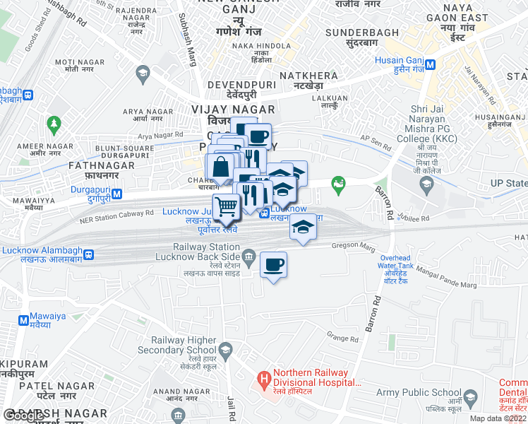 map of restaurants, bars, coffee shops, grocery stores, and more near 99 Gautam Buddha Marg in Lucknow