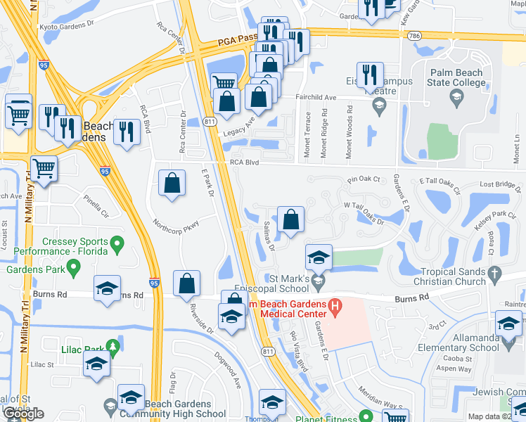 map of restaurants, bars, coffee shops, grocery stores, and more near 479 Capistrano Drive in Palm Beach Gardens