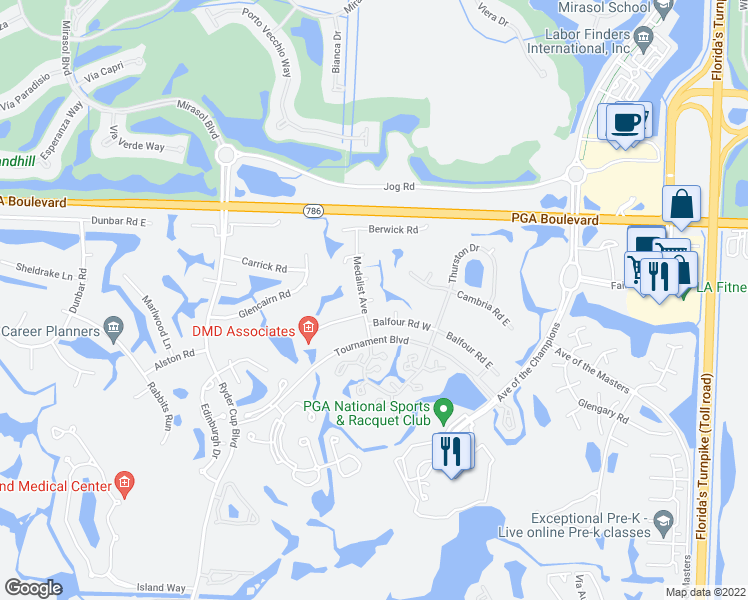 map of restaurants, bars, coffee shops, grocery stores, and more near Ceann Court in Palm Beach Gardens
