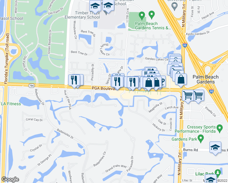 map of restaurants, bars, coffee shops, grocery stores, and more near 5090 PGA Boulevard in Palm Beach Gardens