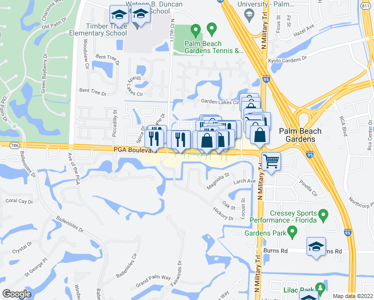 map of restaurants, bars, coffee shops, grocery stores, and more near 4753 PGA Boulevard in Palm Beach Gardens