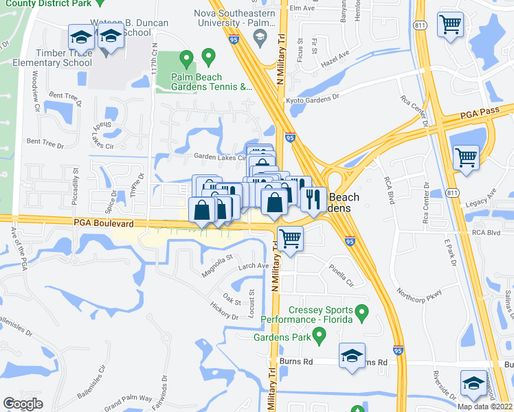 map of restaurants, bars, coffee shops, grocery stores, and more near 4521 PGA Boulevard in Palm Beach Gardens
