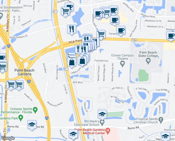 map of restaurants, bars, coffee shops, grocery stores, and more near 11027 Legacy Boulevard in Palm Beach Gardens