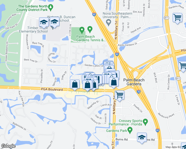 map of restaurants, bars, coffee shops, grocery stores, and more near 4907 Midtown Lane in Palm Beach Gardens