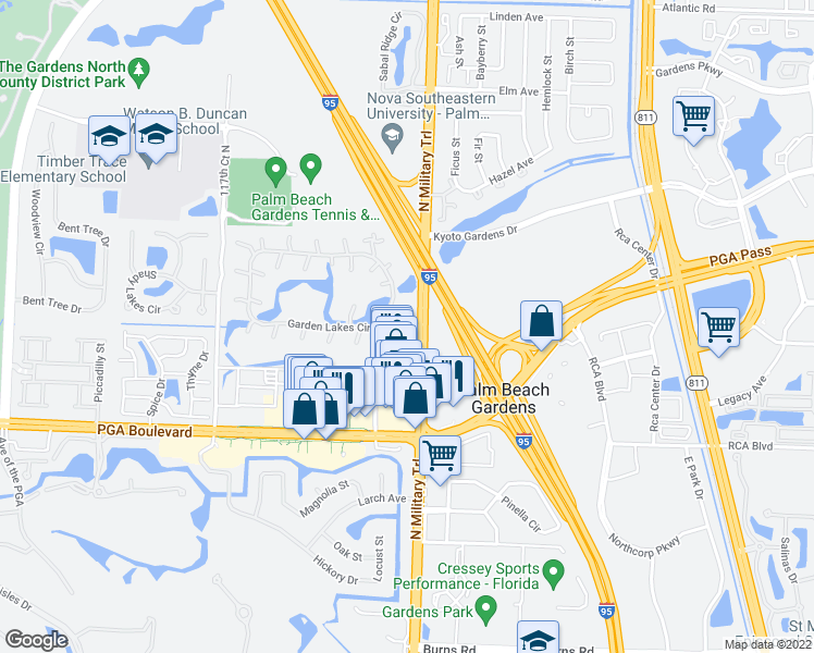map of restaurants, bars, coffee shops, grocery stores, and more near 223 2nd Lane in Palm Beach Gardens