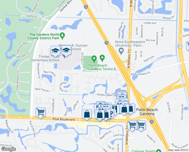 map of restaurants, bars, coffee shops, grocery stores, and more near 1205 12th Lane in Palm Beach Gardens
