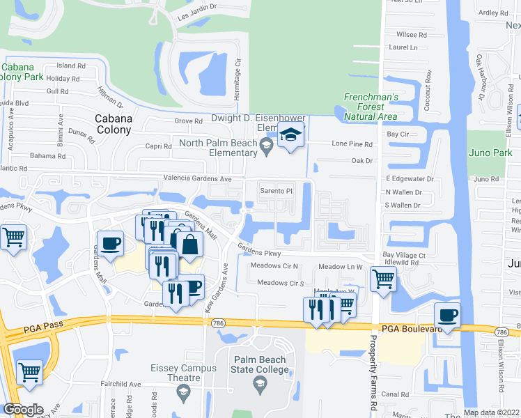 map of restaurants, bars, coffee shops, grocery stores, and more near 2809 Amalei Drive in Palm Beach Gardens