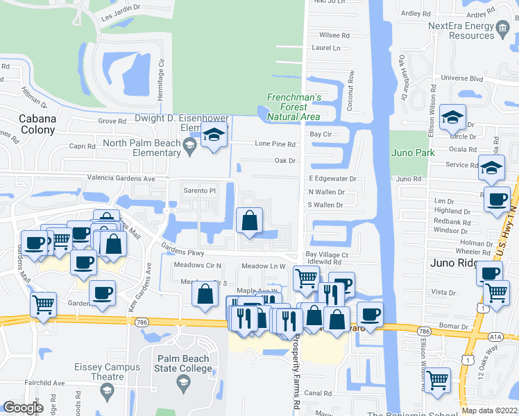 map of restaurants, bars, coffee shops, grocery stores, and more near 2720 Ravella Way in Palm Beach Gardens