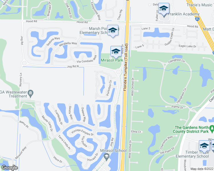 map of restaurants, bars, coffee shops, grocery stores, and more near 100 Portofino Drive in Palm Beach Gardens