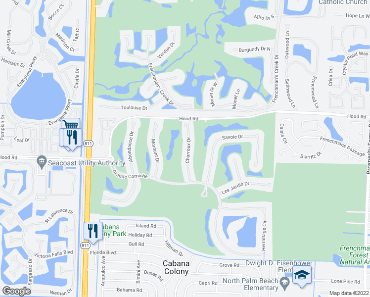 map of restaurants, bars, coffee shops, grocery stores, and more near 327 Charroux Drive in Palm Beach Gardens
