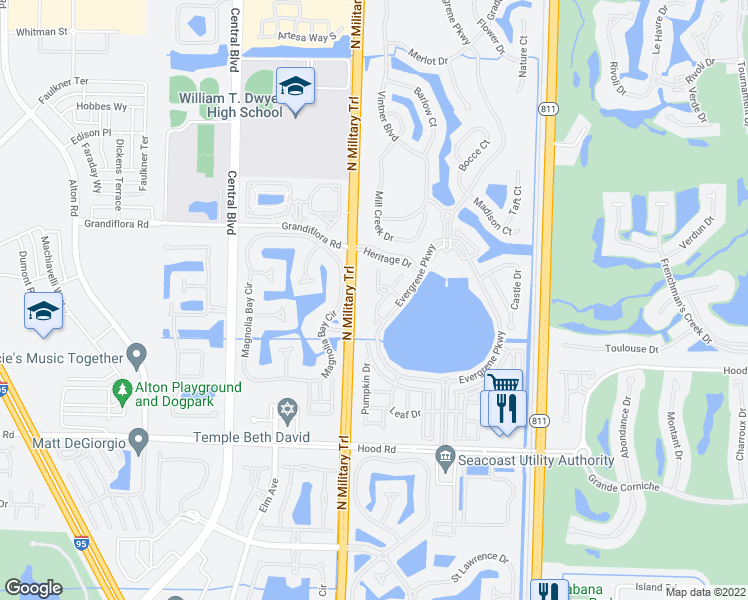 map of restaurants, bars, coffee shops, grocery stores, and more near 529 Tomahawk Court in Palm Beach Gardens