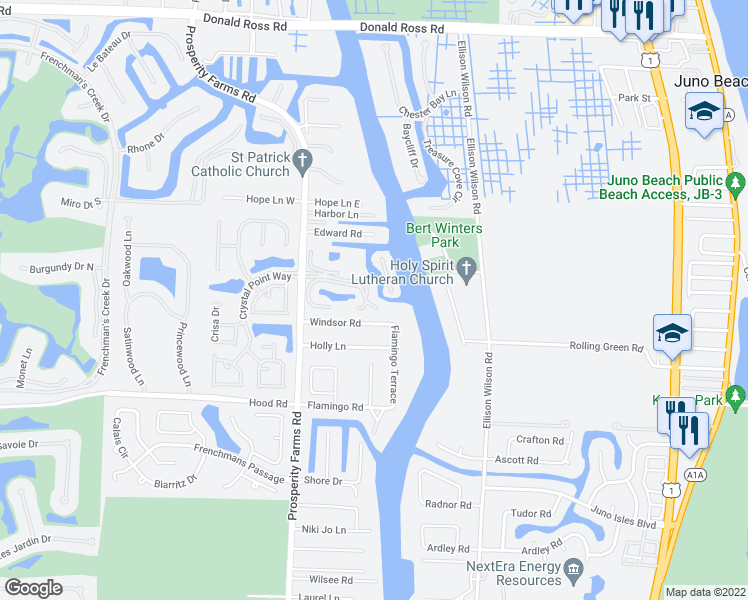 map of restaurants, bars, coffee shops, grocery stores, and more near 2300 Treasure Isle Drive in West Palm Beach