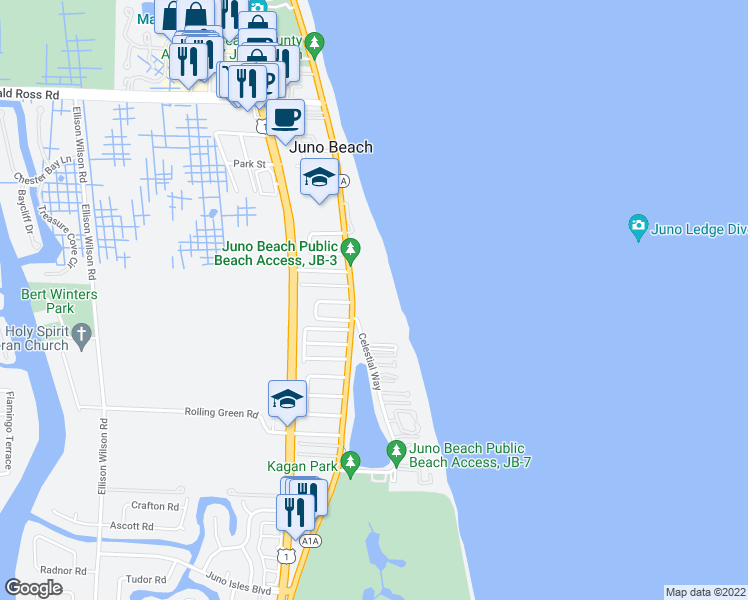 map of restaurants, bars, coffee shops, grocery stores, and more near 500 Ocean Drive in Juno Beach