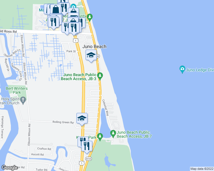 map of restaurants, bars, coffee shops, grocery stores, and more near 530 Ocean Drive in Juno Beach