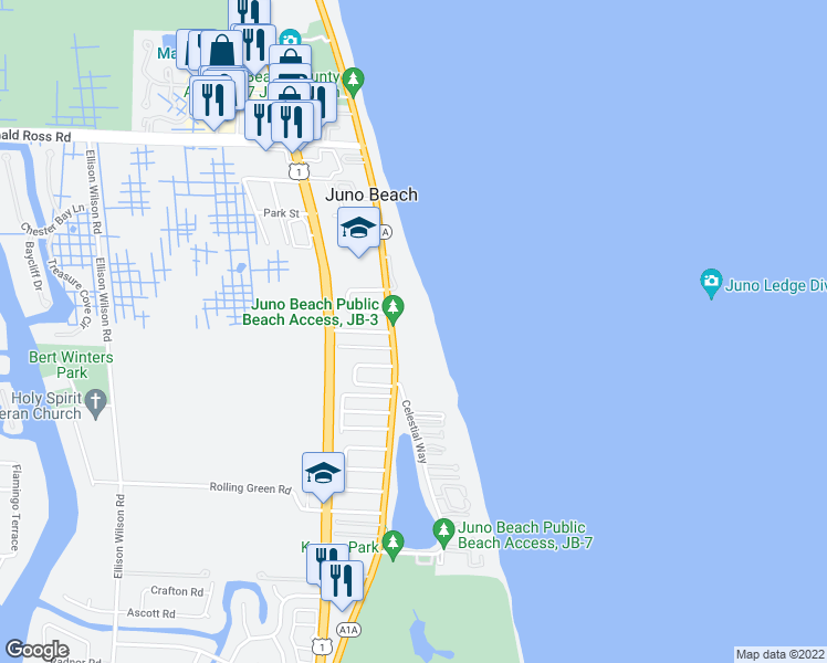map of restaurants, bars, coffee shops, grocery stores, and more near 570 Ocean Drive in Juno Beach