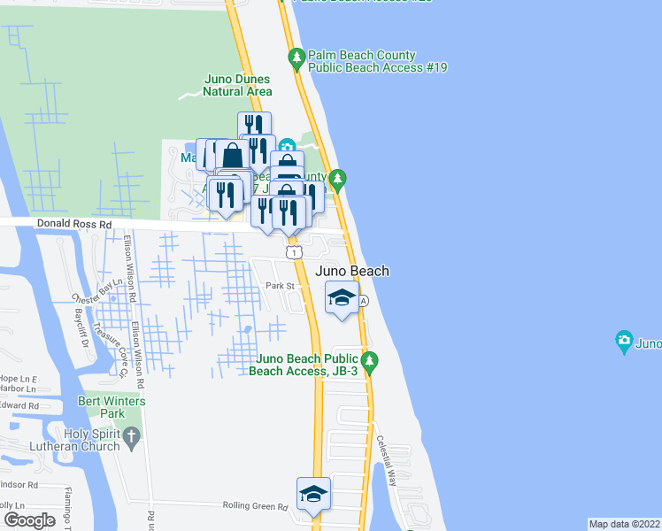 map of restaurants, bars, coffee shops, grocery stores, and more near 460 Ocean Ridge Way in Juno Beach