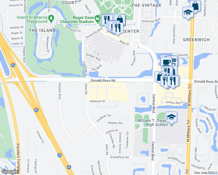 map of restaurants, bars, coffee shops, grocery stores, and more near 143 Donald Ross Road in Palm Beach Gardens